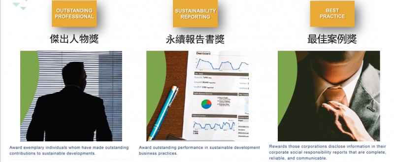 永續傑出人物獎、永續報告書獎、傑出案例獎
